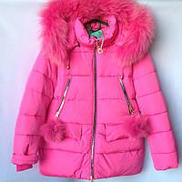 Куртка подростковая зимняя SL #HM-38 для девочек. 128-152 см (8-12 лет). Розовая. Оптом., фото 1