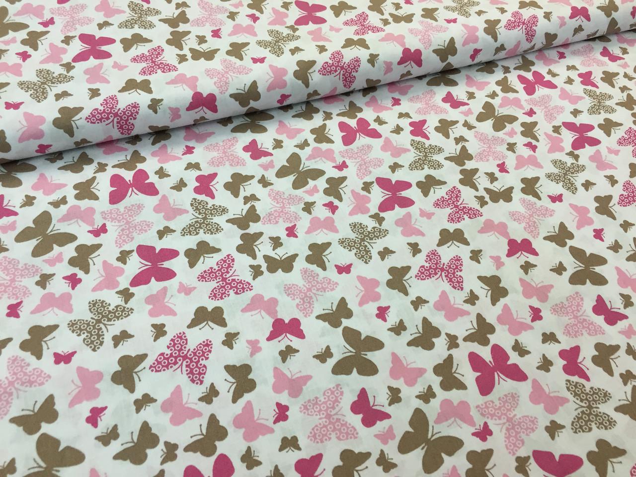"""Польская хлопковая ткань """"бабочки розовые на белом"""""""