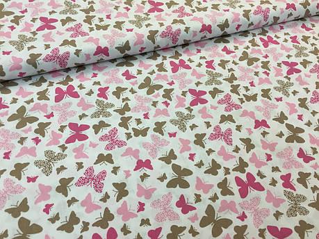 """Польская хлопковая ткань """"бабочки розовые на белом"""", фото 2"""