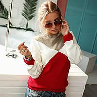 Трехцветный свитерок 6 расцветок  код ак 31