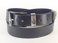 Ремень мужской кожаный LACOSTE с классической пряжкой 4 см (темно синий) Итальянская кожа