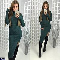 aa35cd59d46 Стильное зеленое платье гольф длина миди с разрезом. рукав-варежка.  Арт-12608