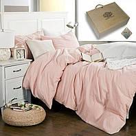 Комплект постельного белья Розовый № 1273, лен (Евро)