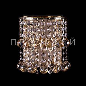 Хрустальное бра на 2 лампочки  (золото). P5-B0171/2W/FG+AM