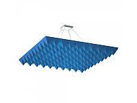 Акустическая подвесная звукопоглощающая панель Ecosound Quadro Pyramid Blue 55 100х100 см Синий, фото 1