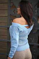 Вязаный свитерок с вырезом на спине 5 цветов код ак 32