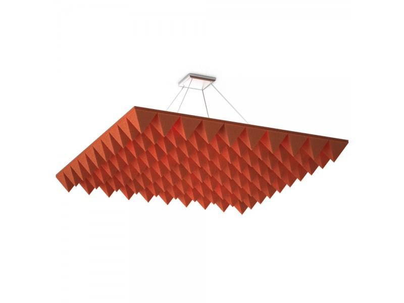 Підвісна акустична панель звукопоглинаюча Ecosound Quadro Pyramid Red. 50мм 1х1м Колір червоний