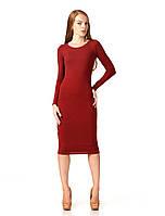 Женское платье футляр оптом. Модель П092_бордо поливискон., фото 1