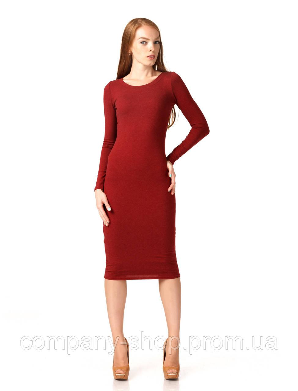 Женское платье футляр оптом. Модель П092_бордо поливискон.