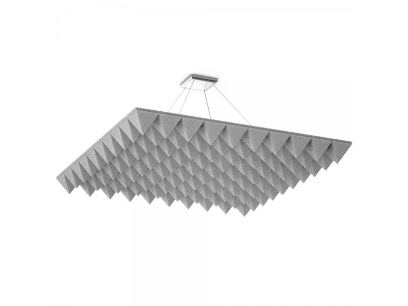 Акустическая подвесная звукопоглощающая панель Ecosound Quadro Pyramid White. 50мм 1х1м Цвет белый