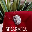 Серебряное родированное кольцо широкая дорожка усыпка россыпь цирконием, фианитом, фото 3