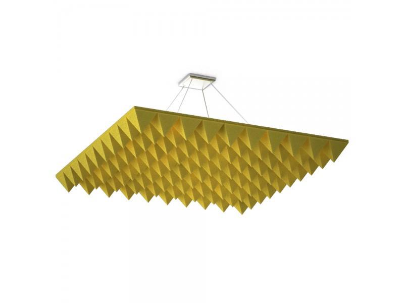 Акустическая подвесная звукопоглощающая панель Ecosound Quadro Pyramid Yellow 55 100х100 см Жёлтый