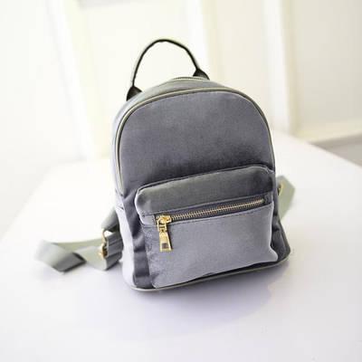 Рюкзак бархатный, серый