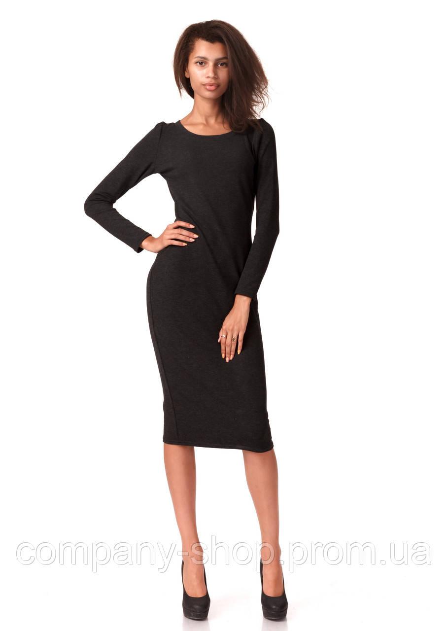 Женское платье футляр оптом. Модель П092_серый гринмеланж.
