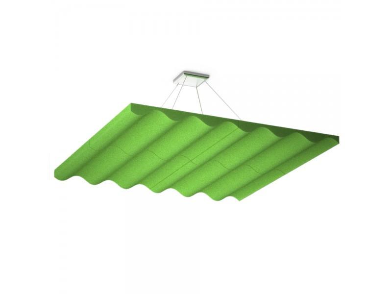 Акустическая подвесная звукопоглощающая панель Ecosound Quadro Wave Green. 50мм 1х1м Цвет зелёный