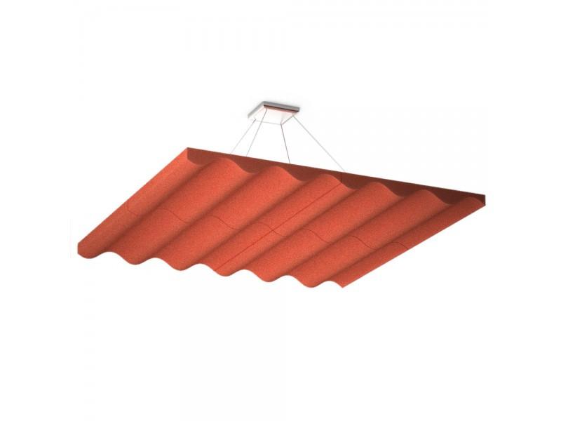 Підвісна акустична панель звукопоглинаюча Ecosound Quadro Wave Red. 50мм 1х1м Колір червоний