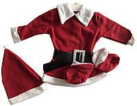 Новогодний комплект на девочку платье шапка пинетки (зима)
