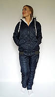 Теплый зимний лыжный костюм батал Versace темно-синий, зимние лыжные костюмы батал оптом от производителя