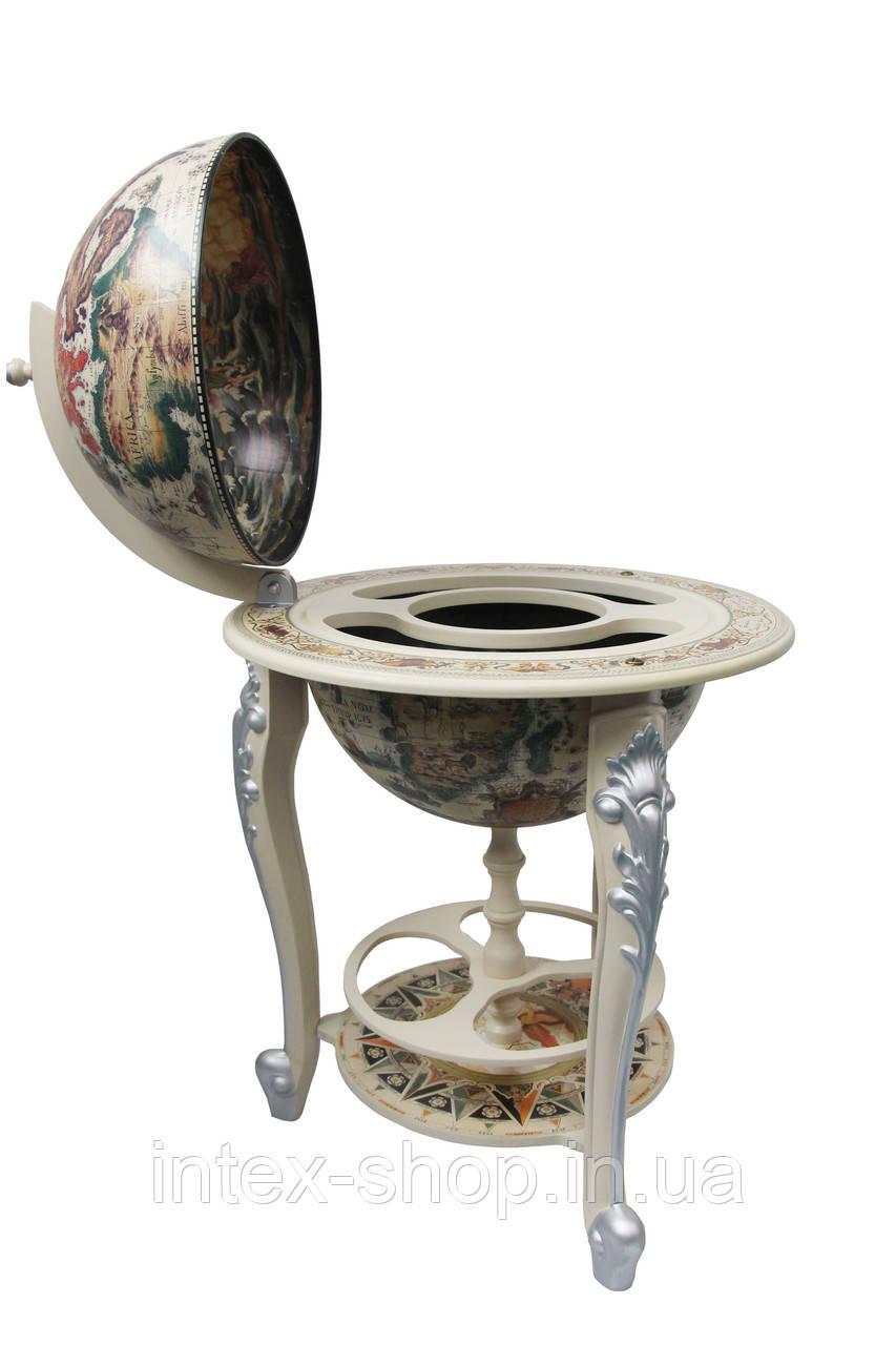 Глобус бар 45045W-M напольный белый на трех ножках
