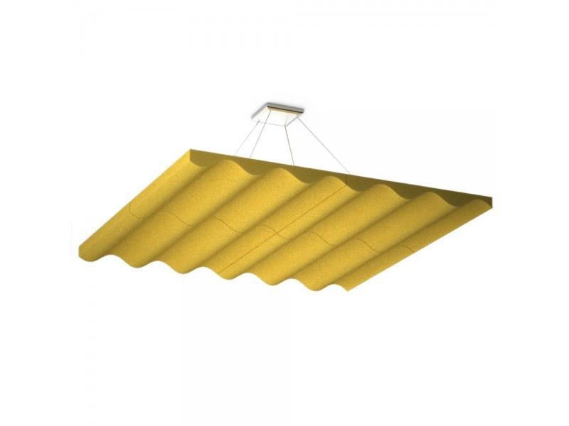 Акустическая подвесная звукопоглощающая панель Ecosound Quadro Wave Yellow. 50мм 1х1м Цвет жёлтый