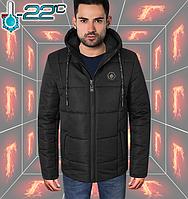 Мужская зимняя куртка с капюшоном - 283 черный