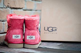 Низкие зимние угги розовые UGG 3352 Пуговка  корал, фото 3