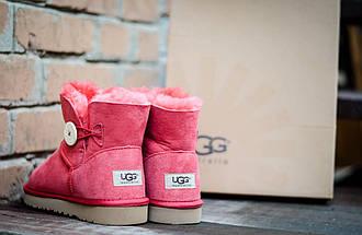 Низкие зимние угги розовые UGG 3352 Пуговка  корал, фото 2