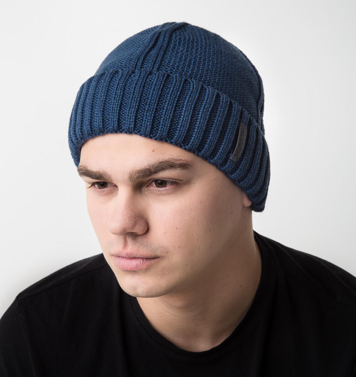 Зимняя вязаная мужская шапка на флисе - Арт AL17034