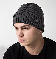 Зимняя вязаная мужская шапка на флисе (серая) - Арт AL17034