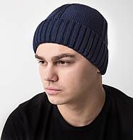 Зимняя вязаная мужская шапка с отворотом на флисе - Арт AL17034