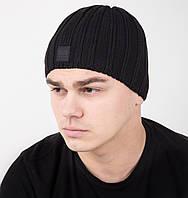 Зимняя вязаная мужская шапка на флисе - Арт AL17042