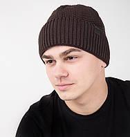 Мужская вязаная шапка на флисе - Арт AL17036