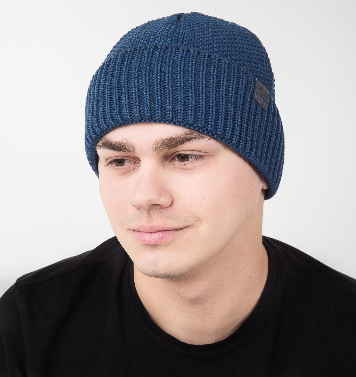 Зимняя вязаная мужская шапка на флисе - Арт AL17036