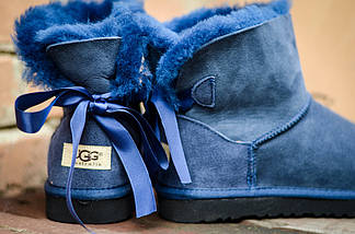 Угги с мехом низкие UGG 5079 бантик сзади синий, фото 2