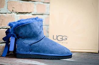 Угги с мехом низкие UGG 5079 бантик сзади синий, фото 3