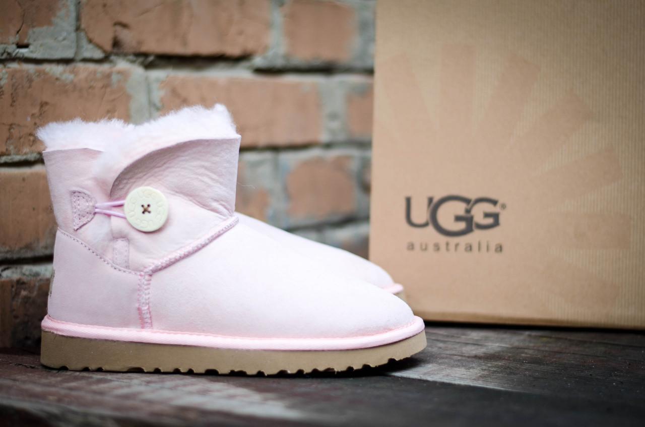 Женские угги зимние теплые UGG 3352 Пуговка Pink Розовые