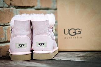 Женские угги зимние теплые UGG 3352 Пуговка Pink Розовые, фото 3