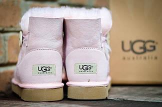 Женские угги зимние теплые UGG 3352 Пуговка Pink Розовые, фото 2