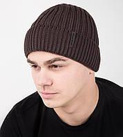 Зимняя вязаная мужская шапка на флисе - Арт AL17022