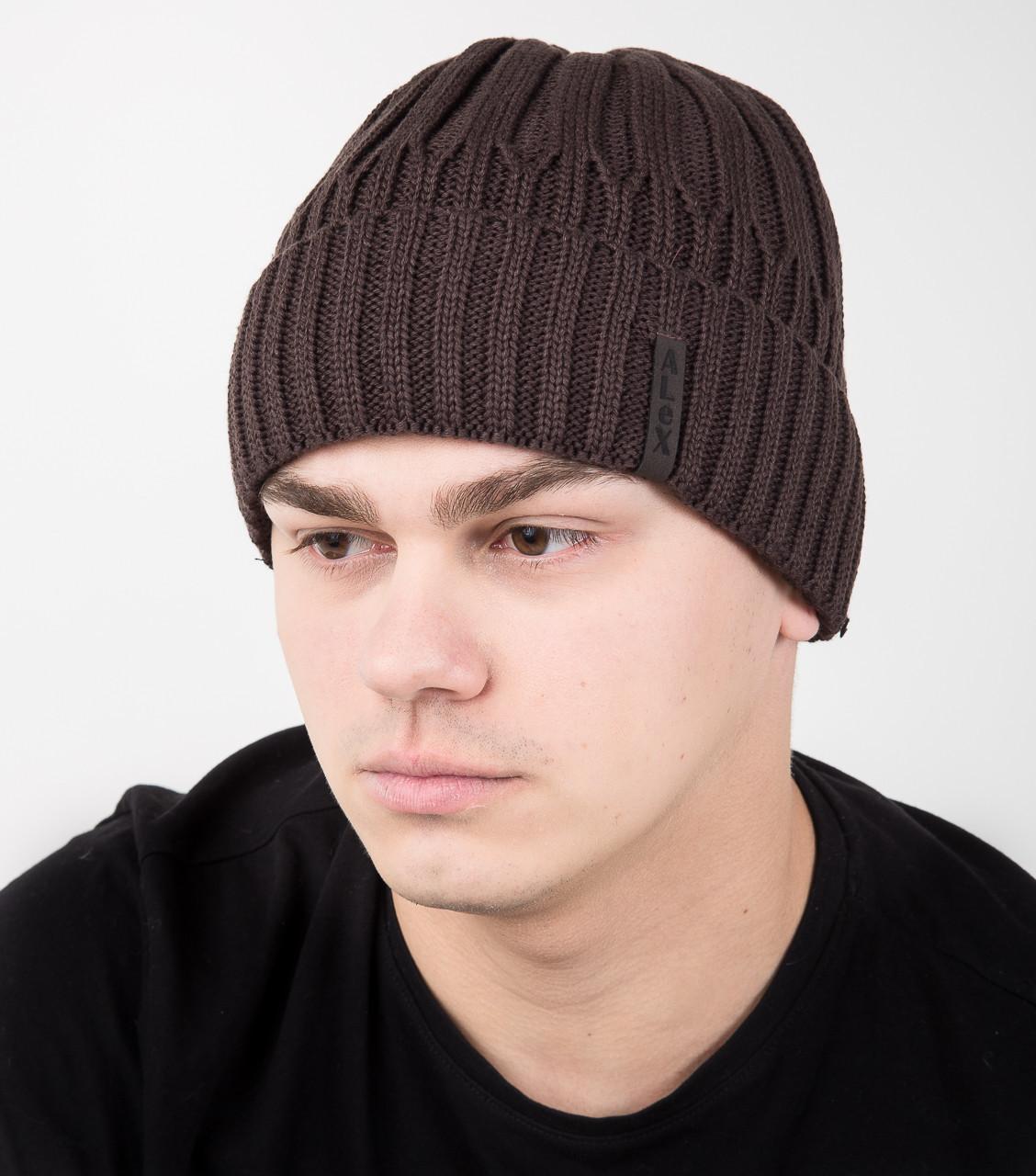 Шапка на флисе с отворотом для мужчин - Арт AL17029