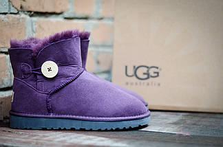 Угги с мехом фиолетовые UGG 3352 Пуговка сирень, фото 2