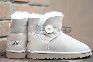 Угги бежевые женские зимние UGG 3352 Пуговка бежев, фото 3