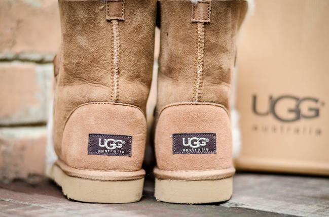Угги высокие с натуральным мехом UGG 5828 зимние коричневые, фото 2