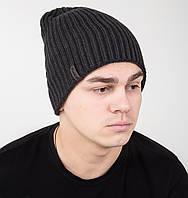 Двухсторонняя вязаная мужская шапка-колпак на флисе - Арт AL17035