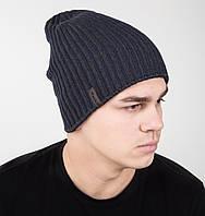 Зимняя вязаная мужская шапка носок двухсторонняя на флисе - Арт AL1035