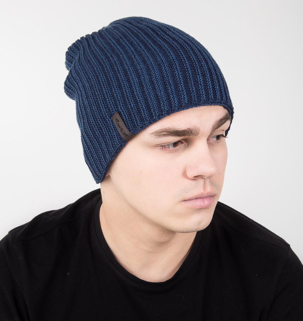 Двухсторонняя вязаная мужская шапка колпак на флисе - Арт AL17035