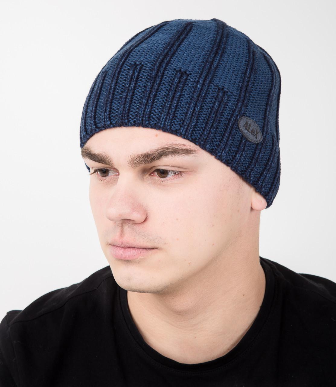 Вязаная мужская шапка на флисе - Арт AL17038