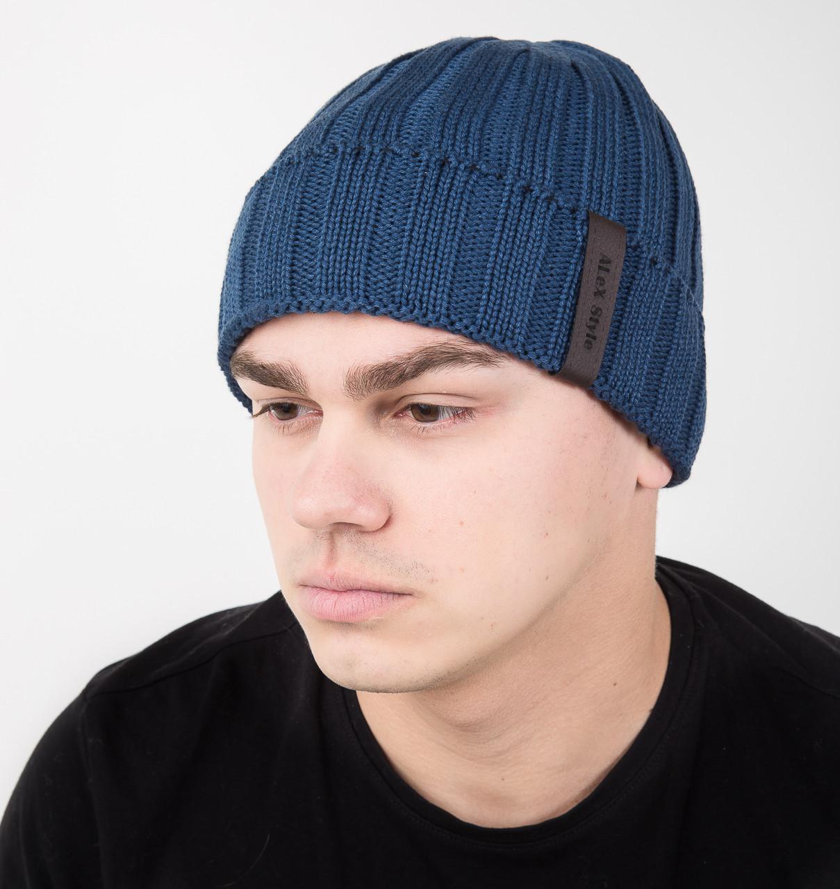 Вязаная мужская шапка с подгибом на флисе - Арт AL17037