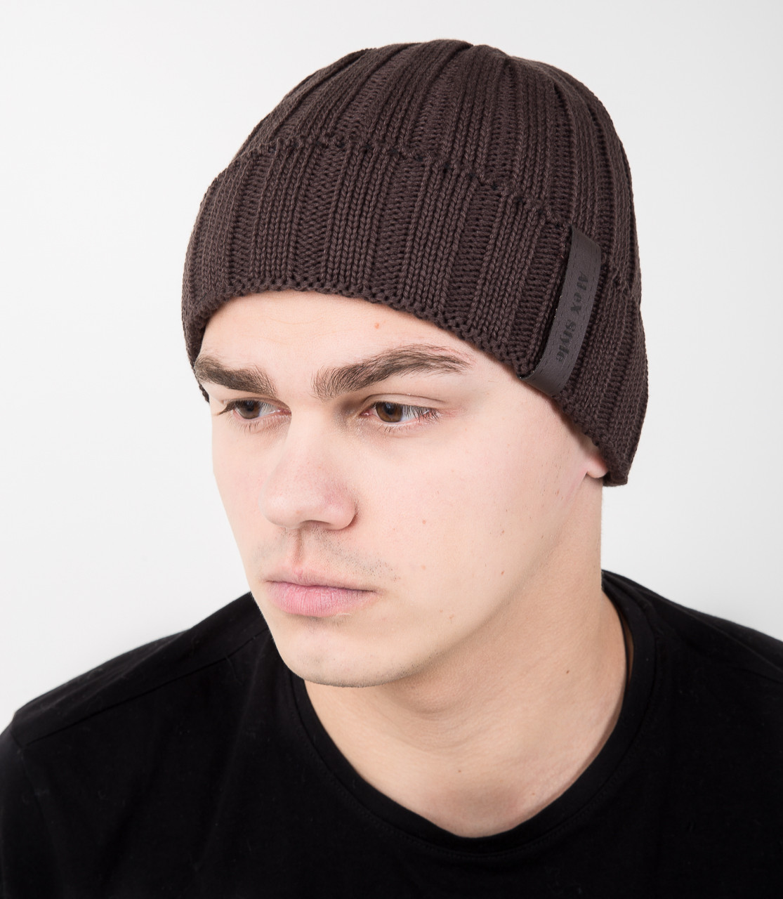 Мужская шапка из вязки на флисе - Арт AL17037