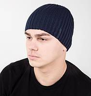 Повседневная мужская шапка на флисе из вязки - Арт AL17040